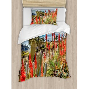 Cactus Photo Landscape of a Desert Mountains with Sea View Flowers and Plants Duvet Set by Ambesonne