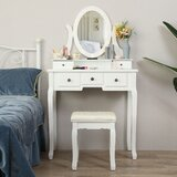 Hunziker Vanity Set with Stool and Mirror by Rosdorf Park