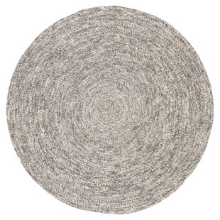 Mathison Round Hand-Braided Wool Gray/White Area Rug by Bungalow Rose