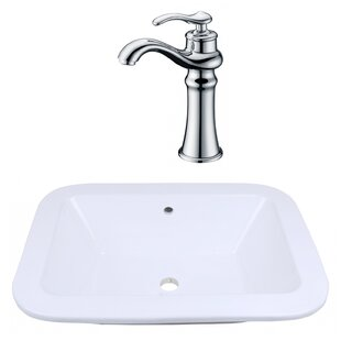 Read Reviews Ceramic Rectangular Dual Mount Bathroom Sink with Faucet and Overflow By American Imaginations