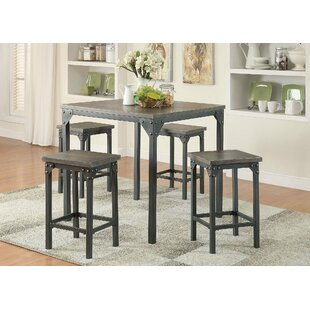 5 Piece Counter Height Solid Wood Dining Set
