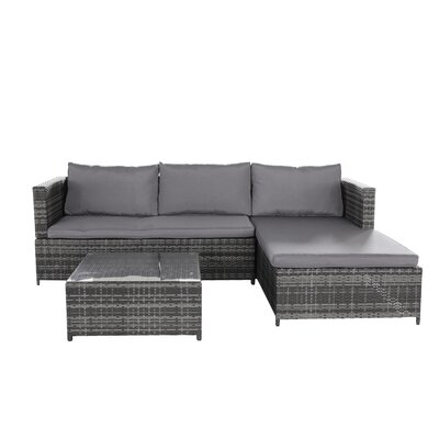 Wrought Studio Farrow 3 Piece Sectional Set with Cushions