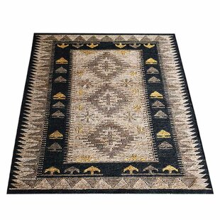 Amira Oriental Hand-Knotted Black/Beige Indoor/Outdoor Area Rug By World Menagerie