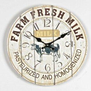 Lian Farm Fresh Milk 13.5 Wall Clock by August Grove