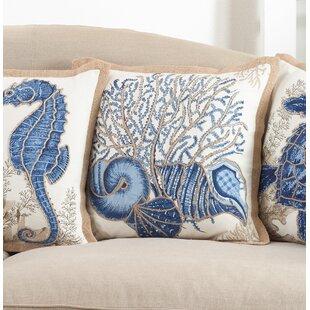 Aloisia Seashells Down Filled Cotton Throw Pillow