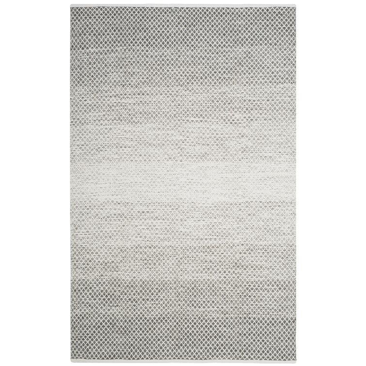 Amaya Geometric Hand-Woven Flatweave Cotton Light Gray/Ivory Area Rug