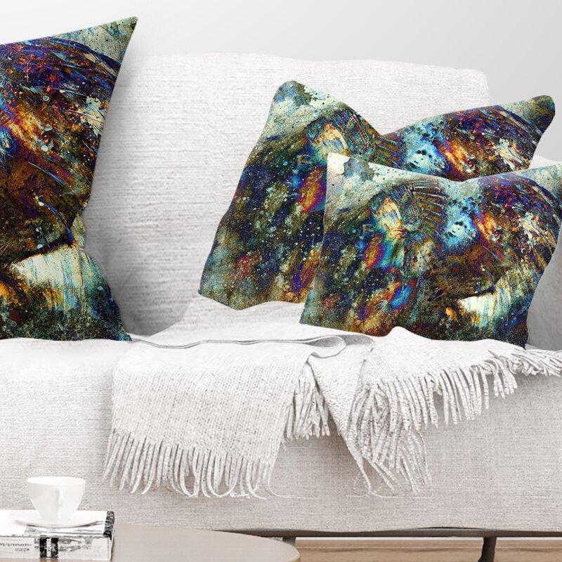 East Urban Home Indian Woman Collage With Lion Lumbar Pillow Wayfair