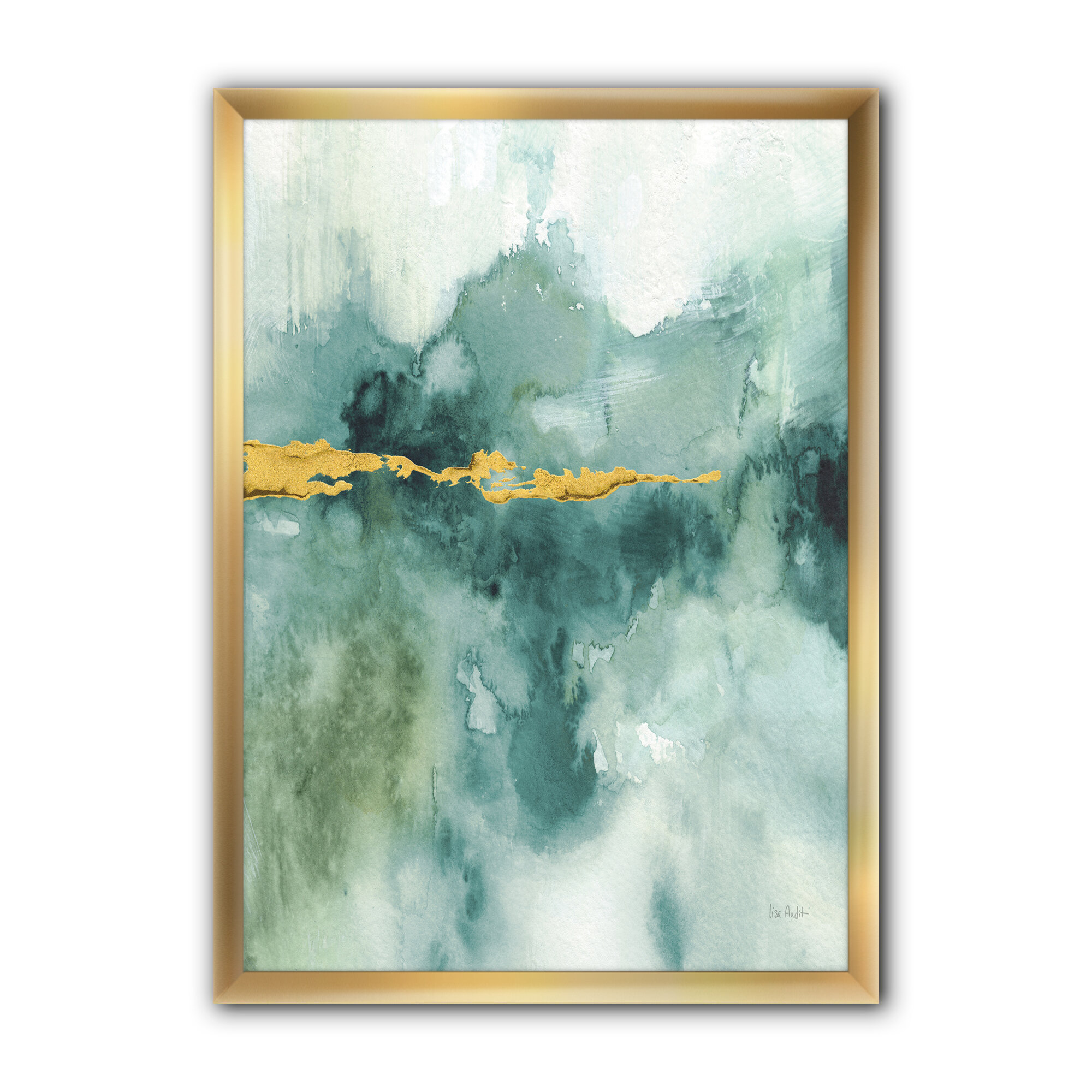 East Urban Home Blue Watercolor Impression With Gold Picture Frame Print On Canvas Wayfair