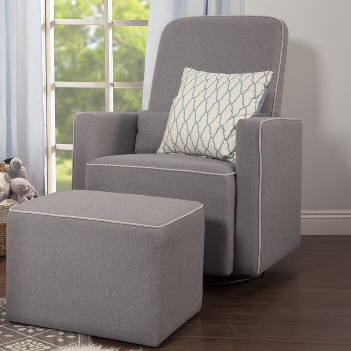 Beau Olive Swivel Glider And Ottoman