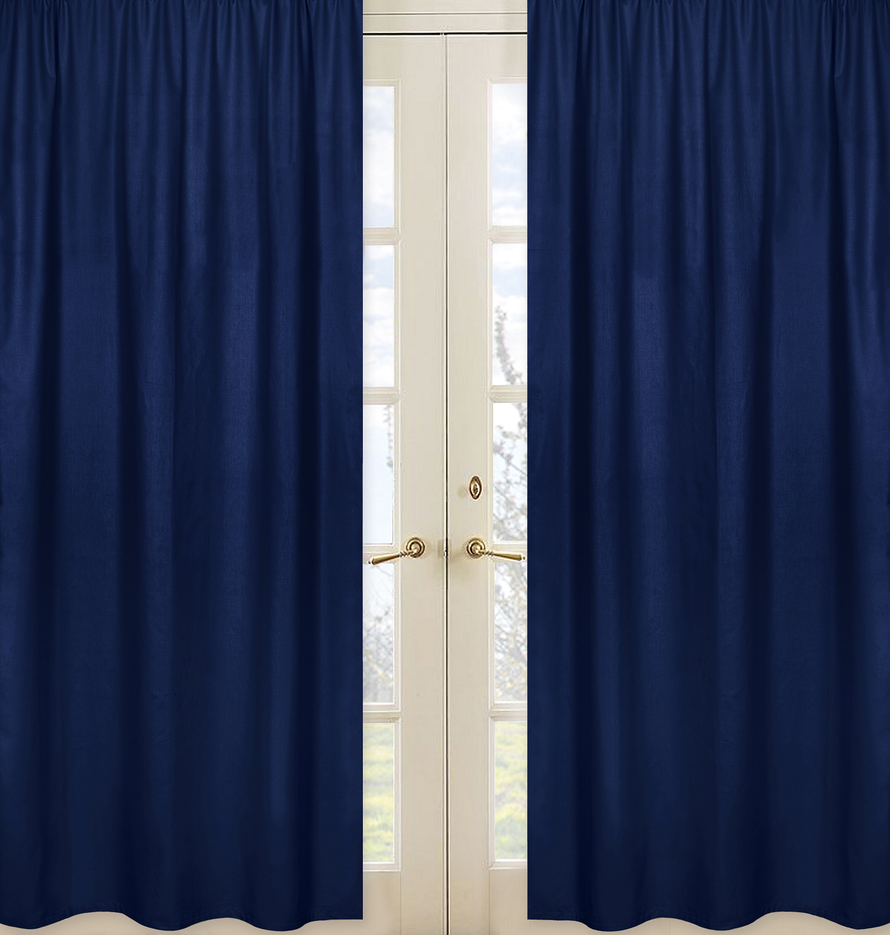 Stripe Collection Navy Blue Semi Sheer