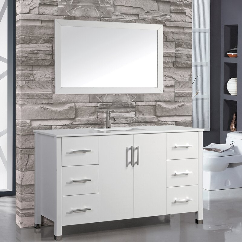 "wade logan charie 60"" single sink bathroom vanity set with mirror"