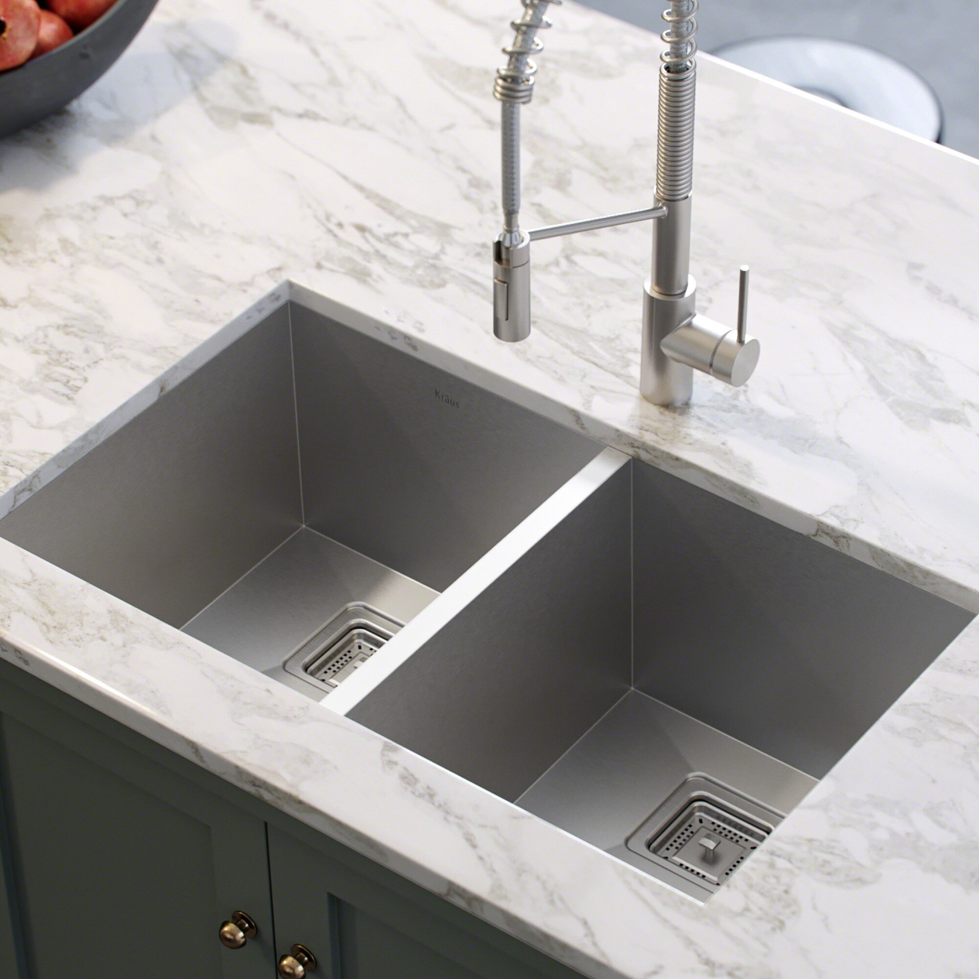 khu322 kraus pax 31 5 x 18 5 double basin undermount kitchen sink rh wayfair com double bowl corner kitchen sink undermount black undermount double kitchen sink