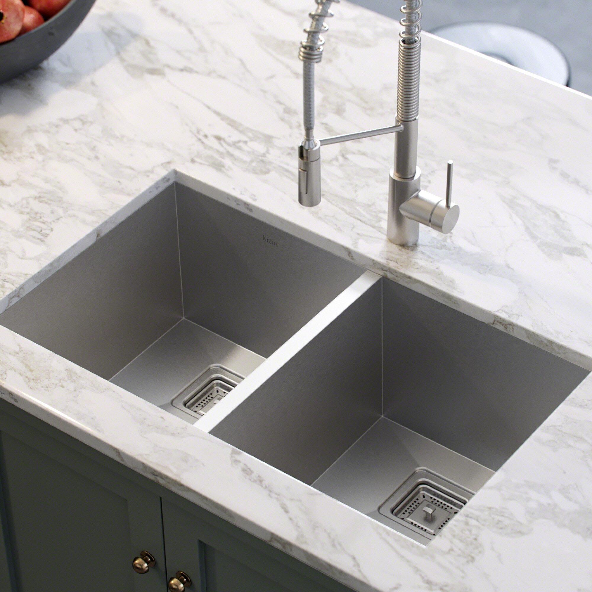 khu322 kraus pax 31 5 x 18 5 double basin undermount kitchen sink rh wayfair com kitchen sinks double kitchen sinks double drainer