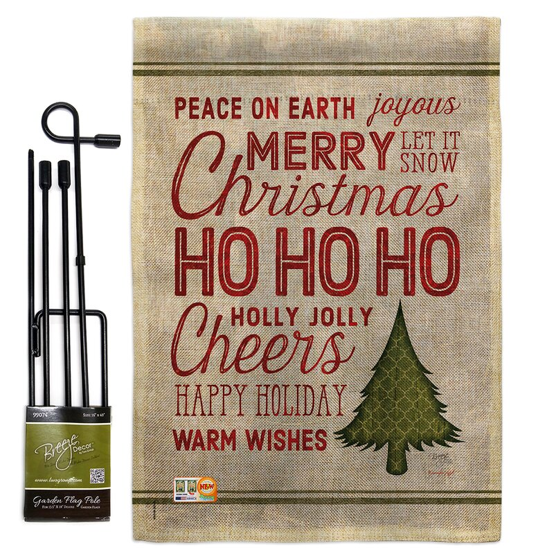 Breeze Decor Christmas Wishes Words Winter Impressions 2 Sided Polyester 19 X 13 In Flag Set Wayfair
