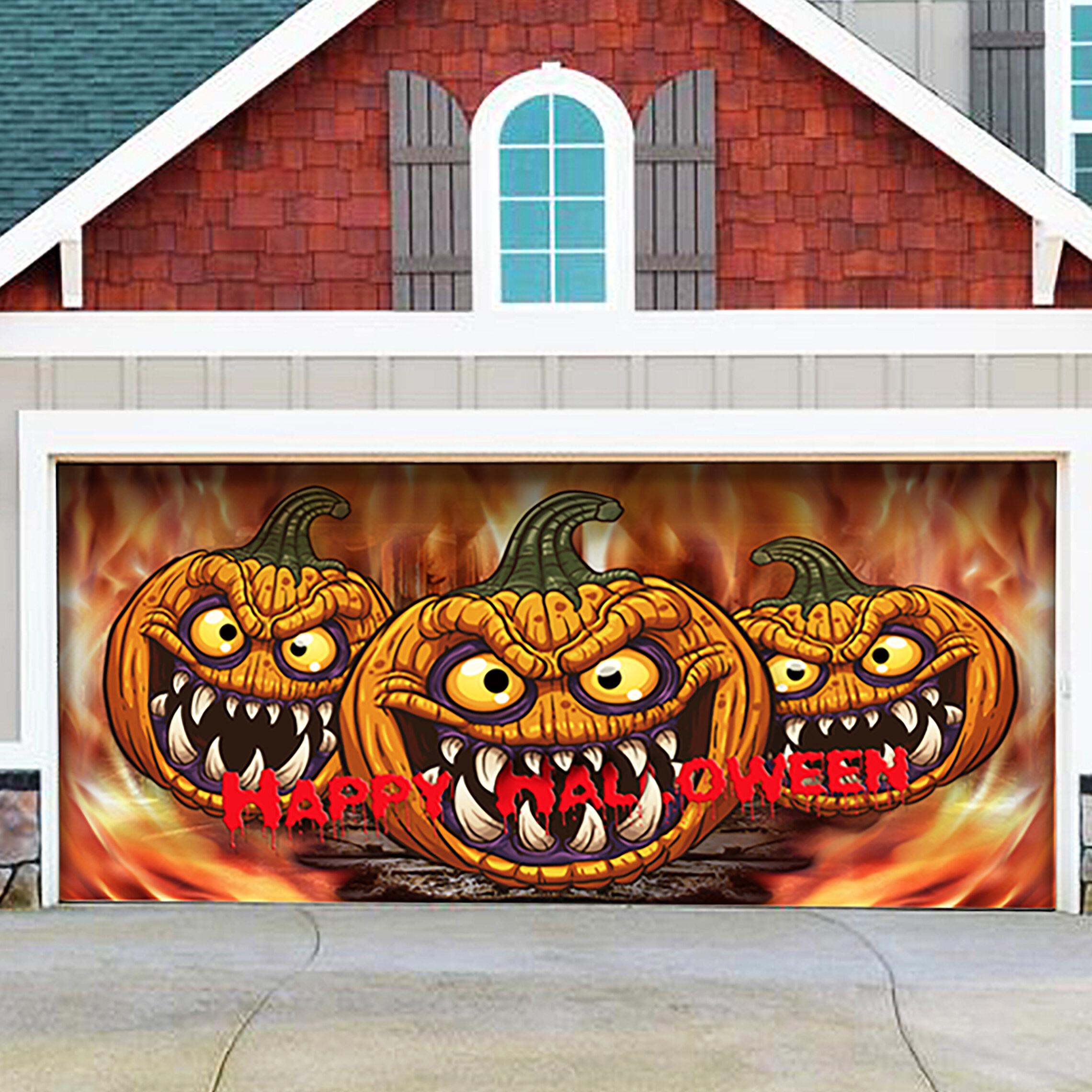 The Holiday Aisle Three Scary Pumpkins Garage Door Mural Wayfair
