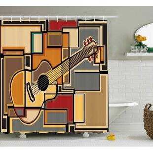 Auburn Geometric Guitar Decor Single Shower Curtain