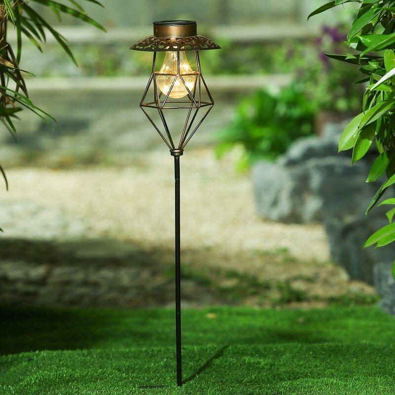 Attirant Cage Lantern Solar Garden Stake Pathway Light