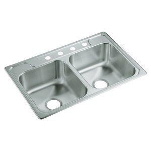 Middleton 33 x 22 Self Rimming Double Bowl Kitchen Sink