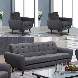 Yearwood Modern 3 Piece Living Room Set