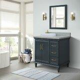 """37"""" Single Vanity In Dark Grey Finish With Grey Granite And Round Sink- Left Door/Left Sink"""