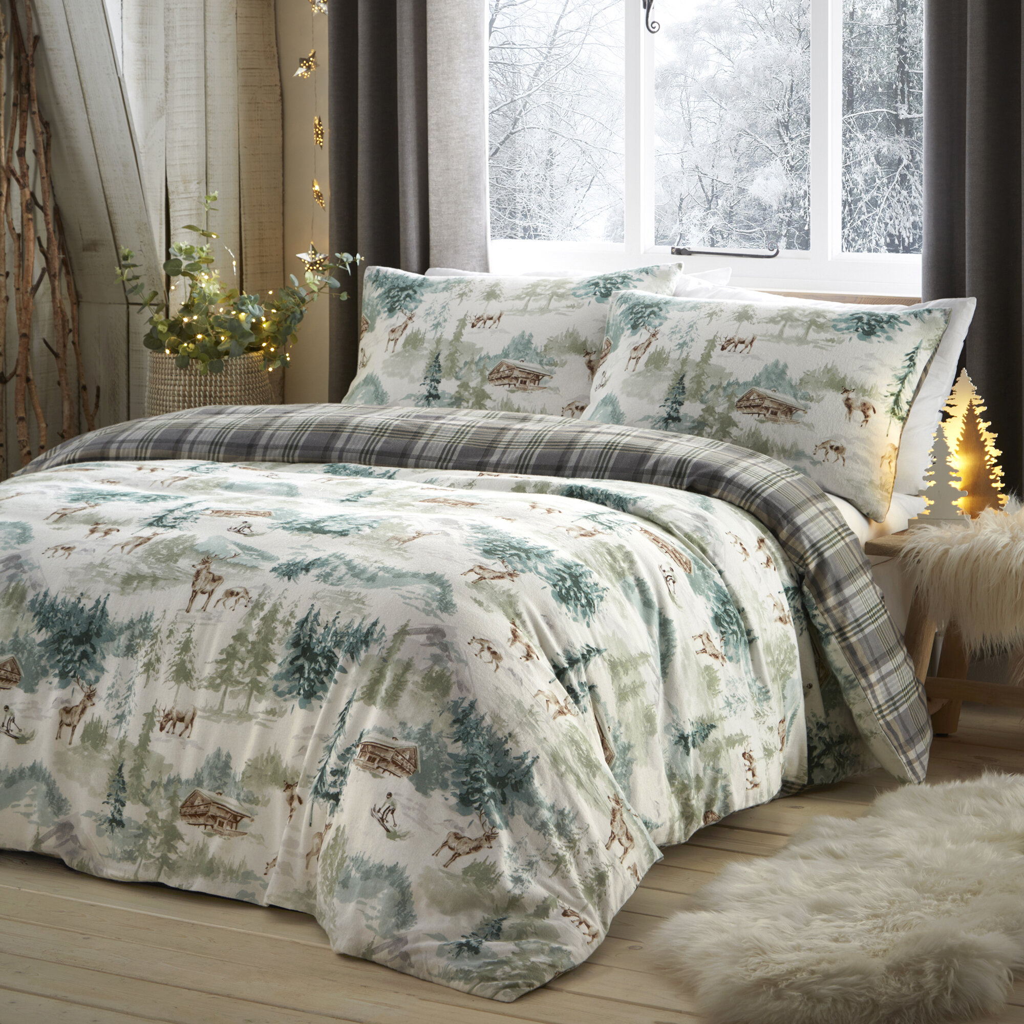 Fusion Home Furnishings Snow Scene Brushed Cotton Duvet Cover Set Reviews Wayfair Co Uk