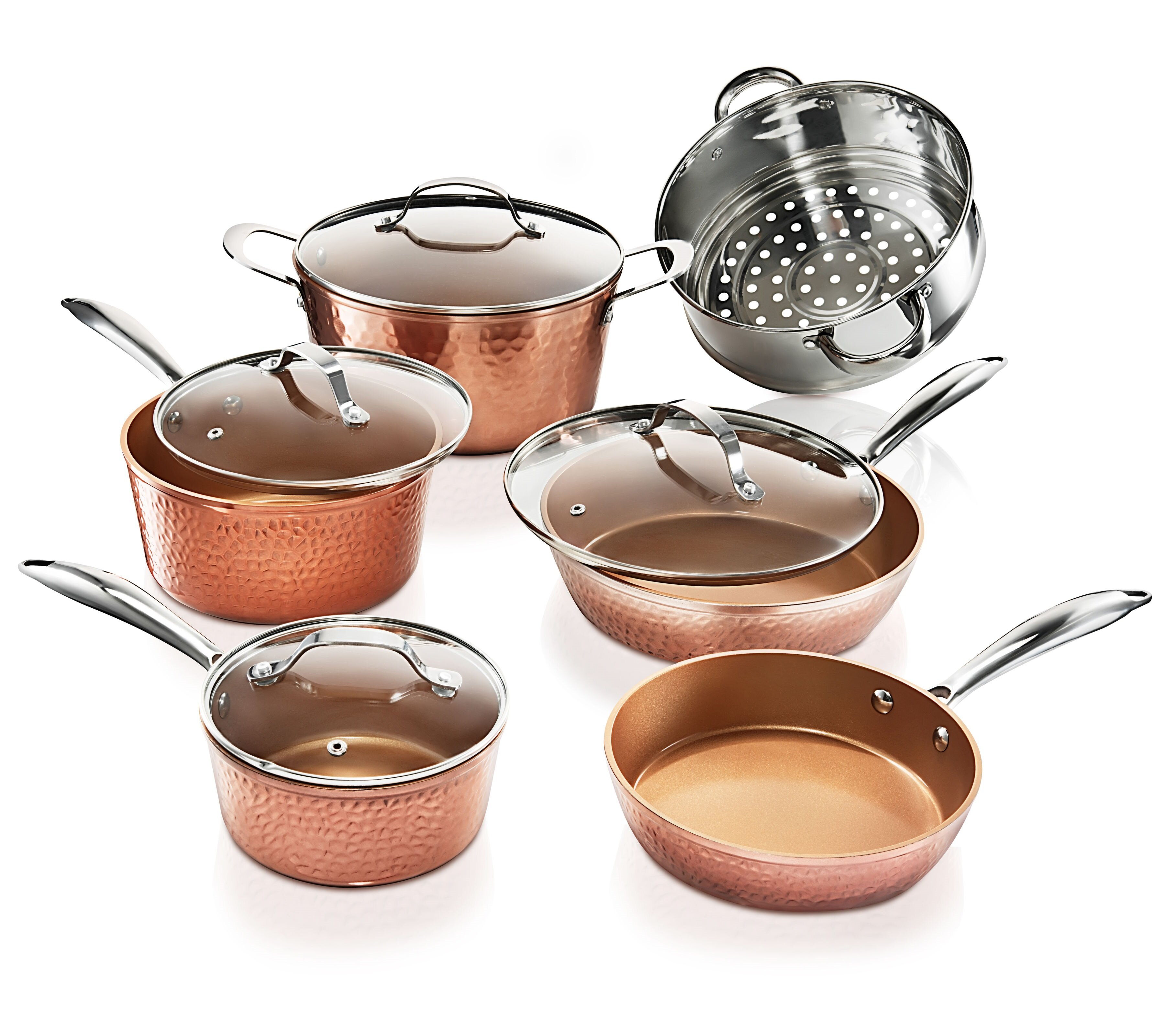 Gotham Steel Hammered Copper 4 Piece Stainless Steel Non Stick Cookware Set