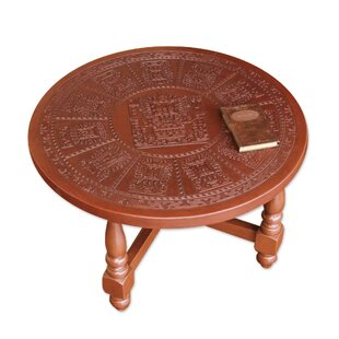 Mcneal Mohena Wood and Leather Coffee Table by Bloomsbury Market