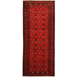 Price comparison One-of-a-Kind Prentice Hand-Knotted 34 x 84 Wool Red/Black Area Rug By Isabelline