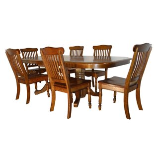 Negron Long Double Pedestal 7 Piece Extendable Solid Wood Dining Set Canora Grey