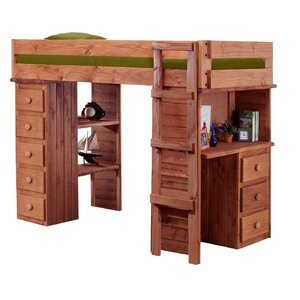 Chronister Student Twin L-Shaped Bunk Bed with Desk and Chest