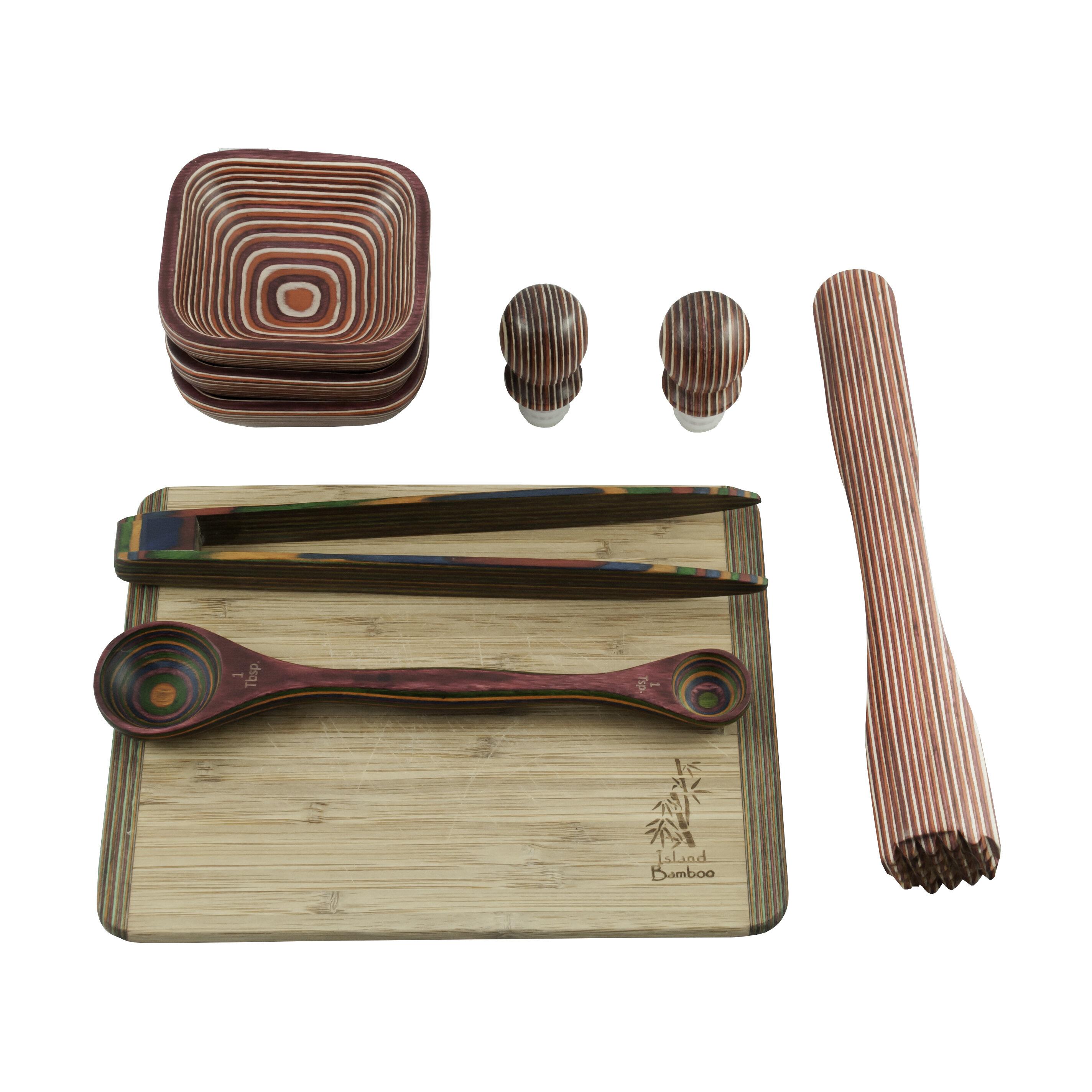 Island Bamboo 9 Piece Pakka Wood Utensil Set Wayfair