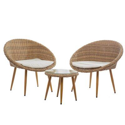 Hinman 3 Pieces Wicker Patio Conversation Bistro Set With Cushions by Corrigan Studio #2