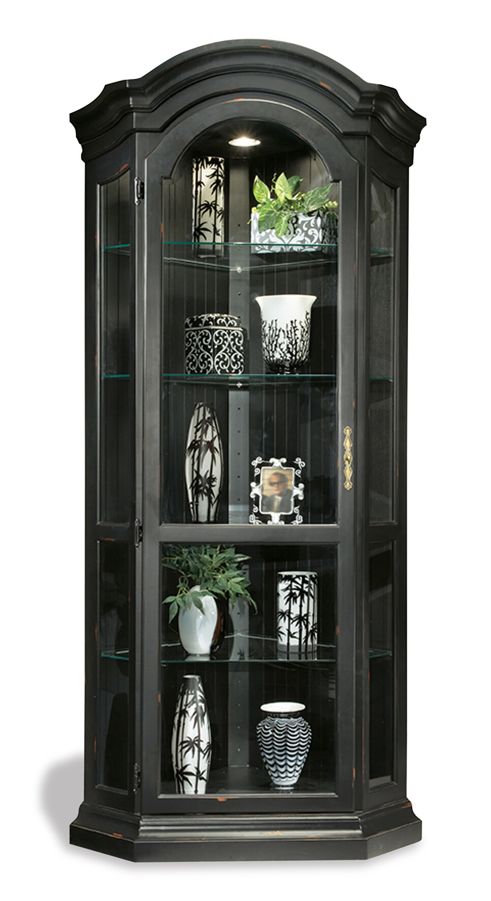 ColorTime Solid Poplar Lighted Corner Curio Cabinet U0026 Reviews | Wayfair