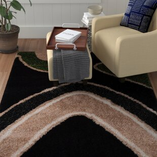 Inexpensive Bishop Shag Hand-Woven Black Area Rug By Winston Porter
