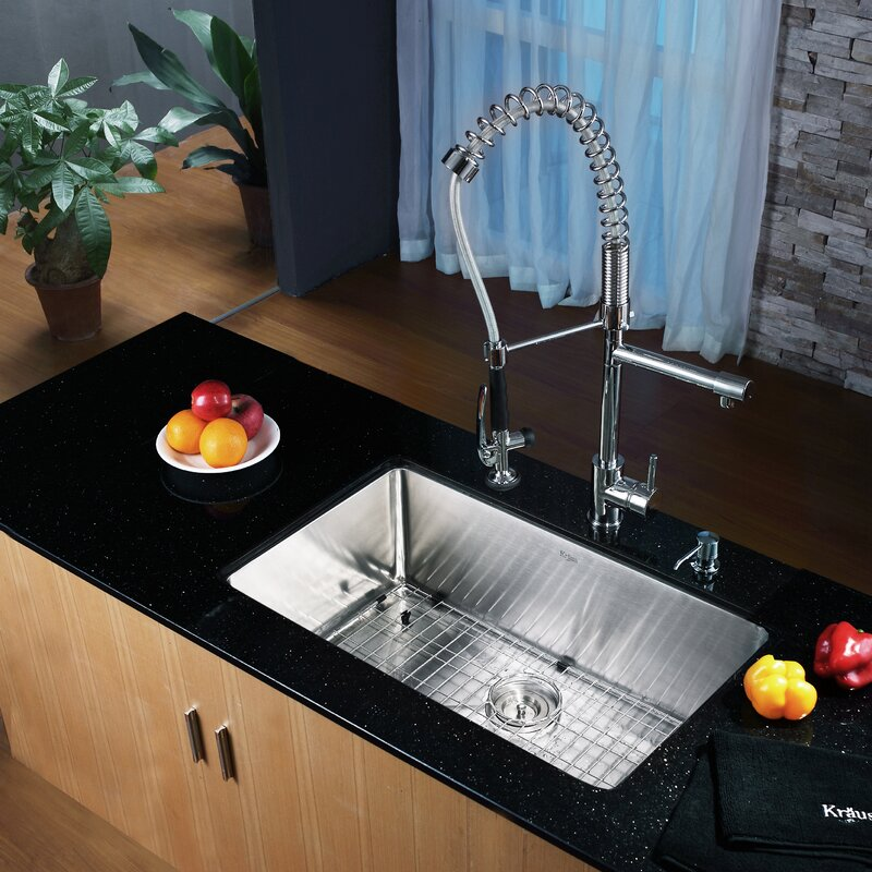 "Undermount Kitchen Sinks And Faucets kraus 32"" x 19"" undermount kitchen sink with faucet and soap"
