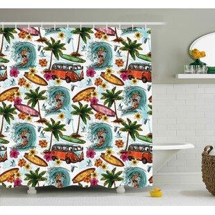 Tarra Ocean Hawaiian Decor Surfer on Wavy Deep Sea Retro Palms Flowers Surfing Boards Print Single Shower Curtain