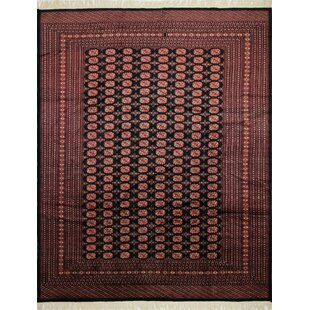 Affordable Price One-of-a-Kind Baeza Hand-Knotted Black Area Rug By Isabelline