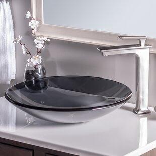 Low Profile Glass Circular Vessel Bathroom Sink Novatto