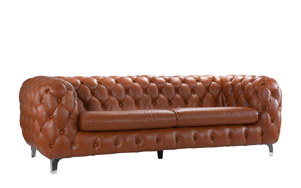 Yuliya Leather Chesterfield Sofa with Built-In Shelves