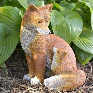 Fox And Baby Garden Statue