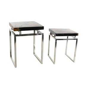 Teak/Metal 2 Piece End Table Set by Cole & Grey