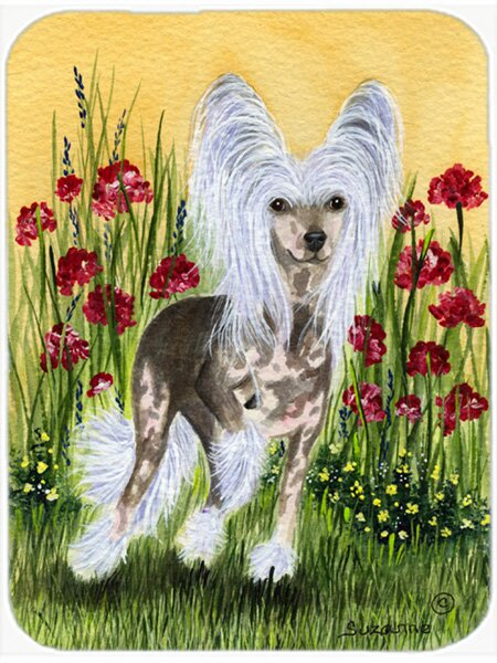 East Urban Home Chinese Crested And Flowers Glass Cutting Board Wayfair