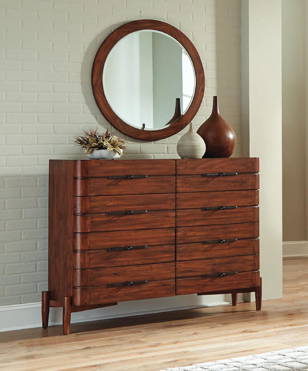 Loon Peak Layfield 8 Drawer Double Dresser With Mirror Wayfair