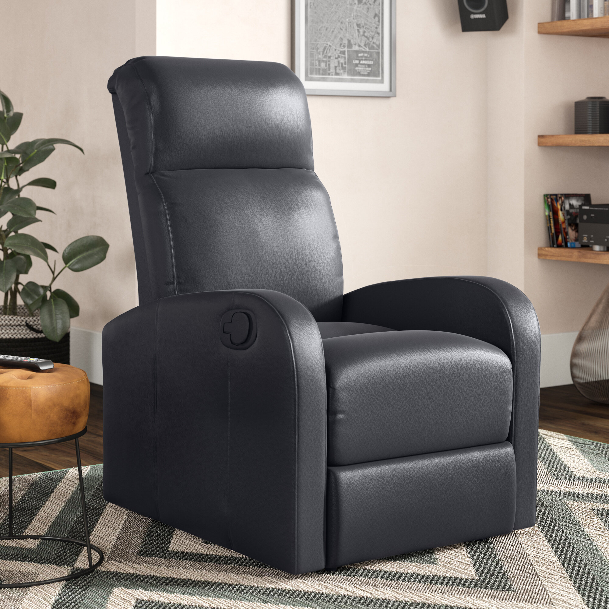 Costway Manual Recliner Chair Black Lounger Leather Sofa Seat Home Theatre