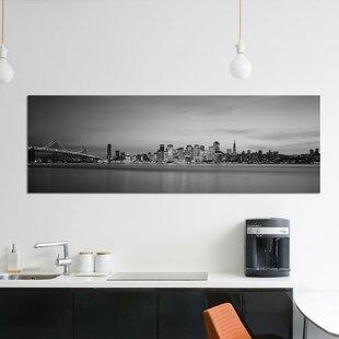 iCanvasART San Francisco Bay Bridge at Dusk Canvas Print 37 x 37