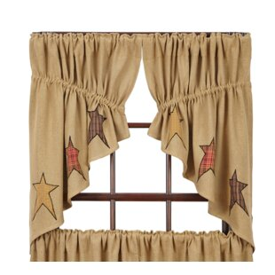 Lilian Burlap Applique Star Prairie Kitchen Curtains (Set Of 2)
