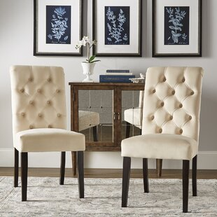 Ali Rolled Top Tufted Upholstered Dining Chair (Set of 2)
