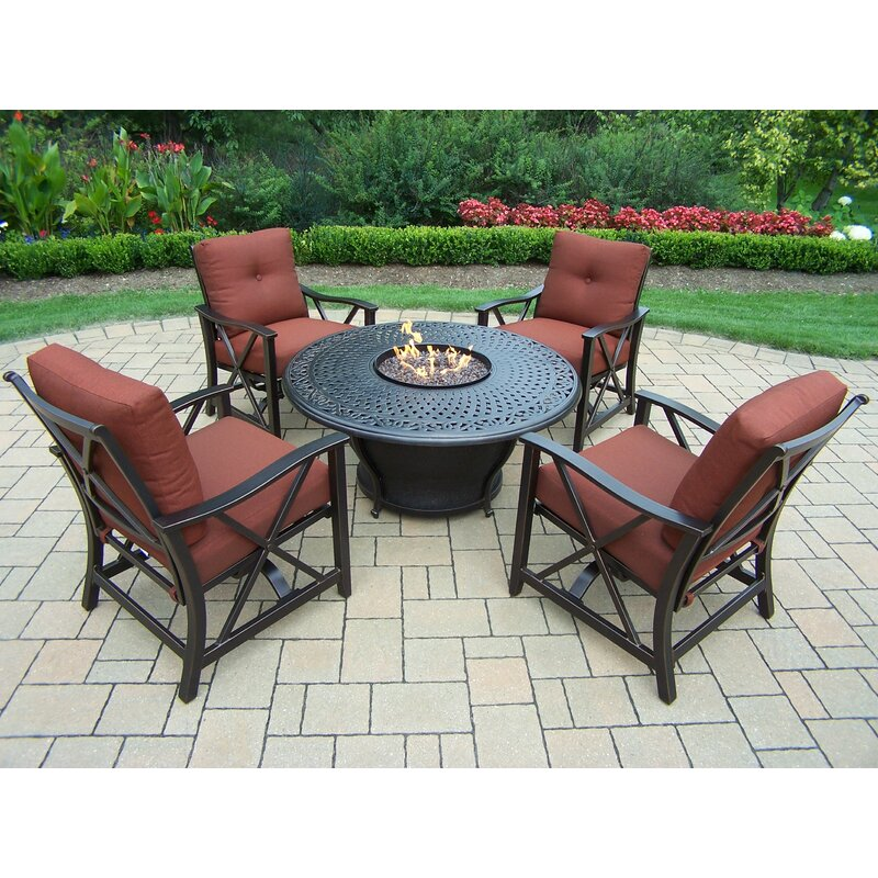Exceptionnel Charleston Aluminum Gas Fire Pit Table And Chairs