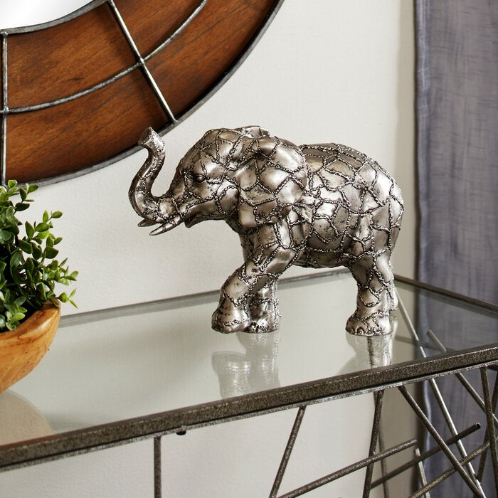 Tamela Metallic Elephant Table Decor with Crackle Texture Figurine