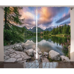 View with Tree on Lake Decor Graphic Print Room Darkening Rod Pocket Curtain Panels (Set of 2) by East Urban Home